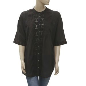Free People Buttondown Embroidered Black Top L